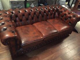 Chesterfield Oxblood Red 3 Seater Sofa & Footstall