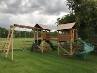 Childrens climbing frame / play area - Dunster House MegaFort Mountain (with added curly slide)
