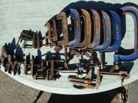 selection of G clamps and other various use clamps