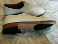 size 10M, white leather oxford, officer's tropical kit shoes.