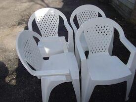 Sturdy Plastic Garden Chairs x 4