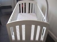 White Mamas and Papas Cot with mattress for sale - hardly been used