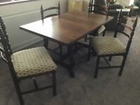 Dark Oak Dining Table & 4 matching chairs, Tapestry seat cushions. Excellent condition.