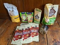 bundle of hamster food and treats