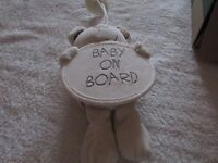 BABY ON BOARD SIGN PLUSH TOY, CREAM IN COLOUR.