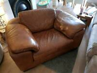 Soft italian tan leather chair, sofa and footstool