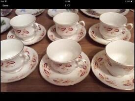 Six English Bone china cups and saucers