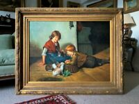 Huge Stunning 20thc Oil Portrait Painting Of 2 Children Playing In A Barn