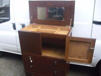 Quality 1930's Era Rare Dressing Top Compartment Oak Tallboy Chest Of Drawers