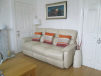 CREAM LEATHER SOFAS X2 - 3 SEATER / 2 SEATER - FROM DFS