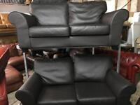 🎅 as new 2 brown leather 2 seater sofas