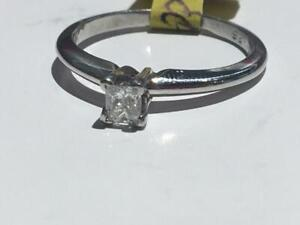#157 PLATINUM PRINCESS CUT 0.25CT DIAMOND SOLITAIRE ENGAGEMENT RING *SIZE 5 1/2* JUST BACK FROM APPRAISAL AT $1750.00