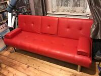 Cool Red Faux-Leather Sofa