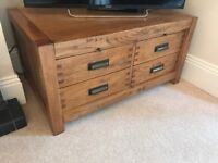 Coffee table solid oak 8 drawers large