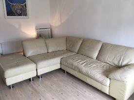 Leather corner sofa cream leather with footstool
