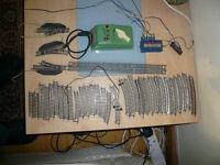 Model railway TT gauge parts with Fleischmann transformer