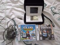 Polar White Nintendo DS Lite Bundle with Four DS Games and charger, Stylus and case