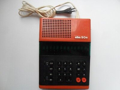 Vintage CCCP Soviet Russian Tube Electronic Calculator ELKA 50 m Rare Orange