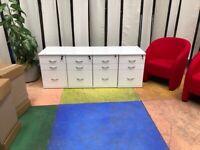 4 x Under Desk Mobile Office 3 Drawer Pedestal/White/Keys/Desk pedestals