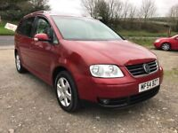 VOLKSWAGEN TOURAN SPORT 2.0 TDI RED 2004 7 SEATER LEATHER