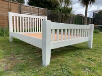 Beautiful & Robust Solid Oak Slatted Painted 5ft King Size Bed Frame- Very Heavy / Substantial
