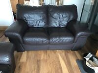Two leather sofas to sell. Brown chocolate leather. One two seater and one three seater.