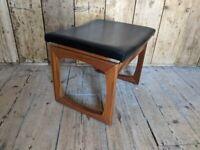 G Plan Quadrille stool c1965 mint condition black vinyl MCM vintage teak gplanera