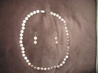Lovely earrings and necklace set of cultured Chinese Water pearls