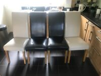 Faux leather dining chairs x 4
