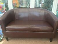 2 seat tub sofa brown faux leather chair