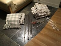 2 pairs of John Lewis lined curtains for French Windows + easy-glide rods + 2 matching cushions
