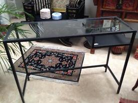 Small glass topped desk/console table