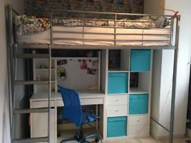 High Sleeper Bed + Desk +Storage