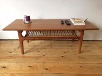 Mid Century Danish Trioh Large Teak Coffee Table with Rattan Shelf Denmark