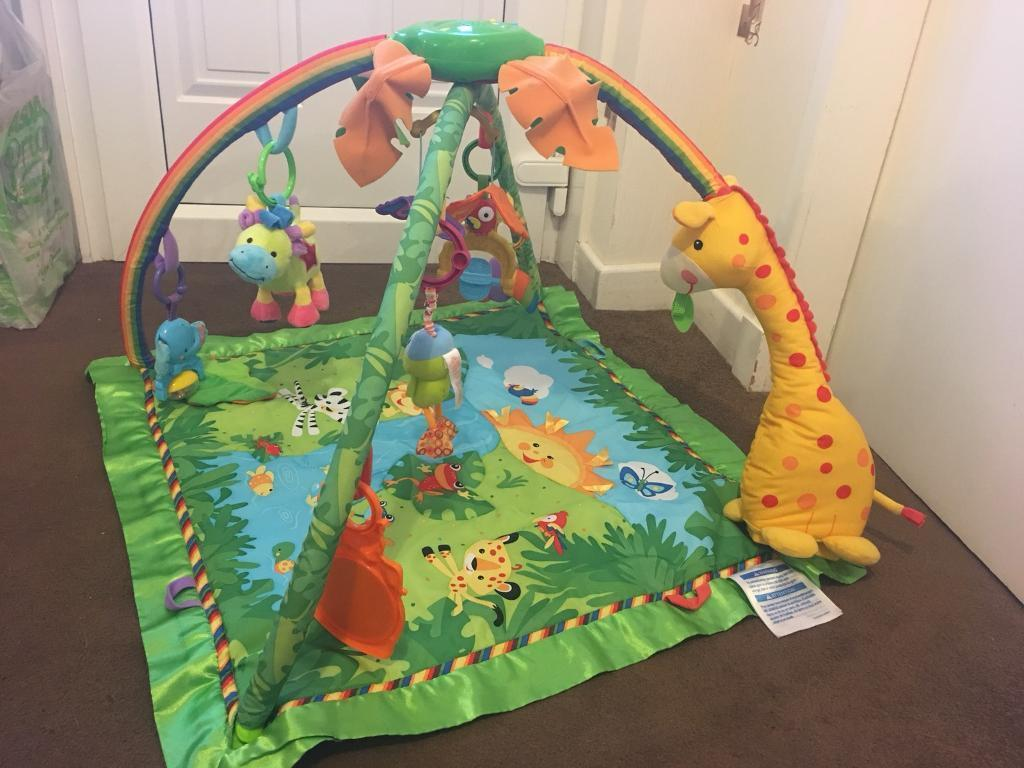 Fisher Price Rainforest Gym Activity Playmat With Lights Music Farm