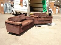 sofa's 3 x 2 seater good condition dark brown i will deliver locally free of charge