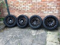 4 x 20 inch black alloy wheels for Audi/VW/Skoda/Mercedes Benz with tyres fitted