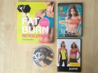 Fat Burn Revolution Book and various fitness DVDs