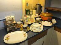 Assortment of retro crockery, pyrex, glasses, crock-pot, coffee grinder and percolator