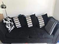 Sofa bed, arm chair and footstool with storage.