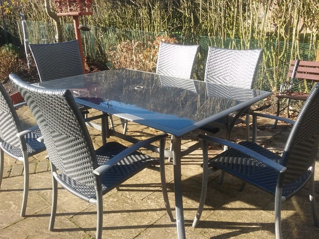 Glass topped patio table and six rattan chairs in york north yorkshire gumtree