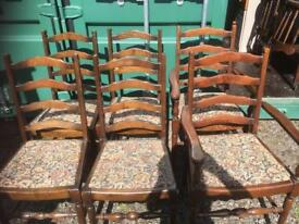 LOVELY SET OF VINTAGE LADDER BACK CHAIRS - CAN DELIVER