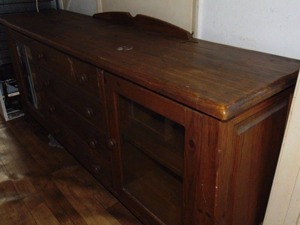 Large Rustic Pine Solid Wood Sideboard Tv Cabinet In