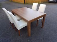 Medium Wood Veneer Extending Table & 4 Cream Leather Chairs FREE DELIVERY 476