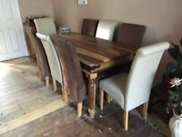 Solid Sheesham dining table and 8 chairs