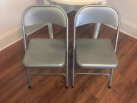 2 x silver metal chairs, collapsable