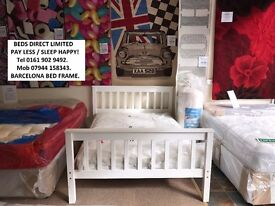 New, White Frame with Mattress, Double size or Single BARCELONA Brazilian Pine.