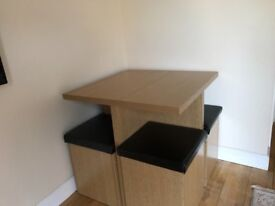 Square wooden table and 4 stools