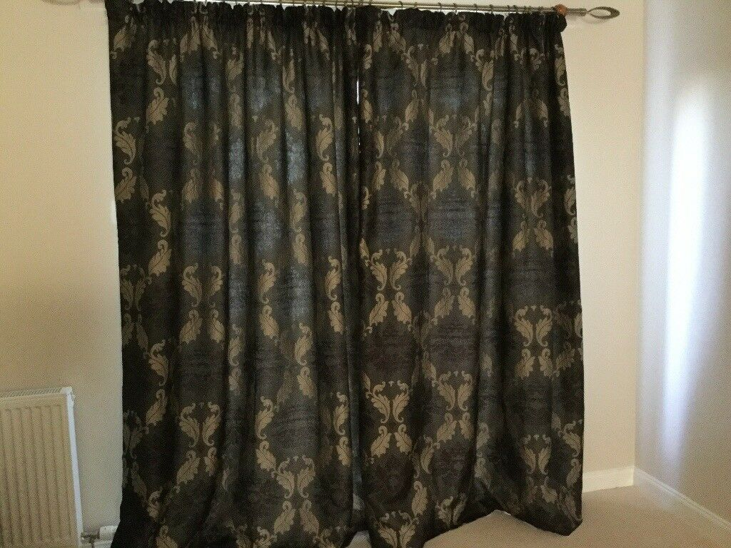 Brown damask curtains (2 pairs with 2matching cushions) | in ...