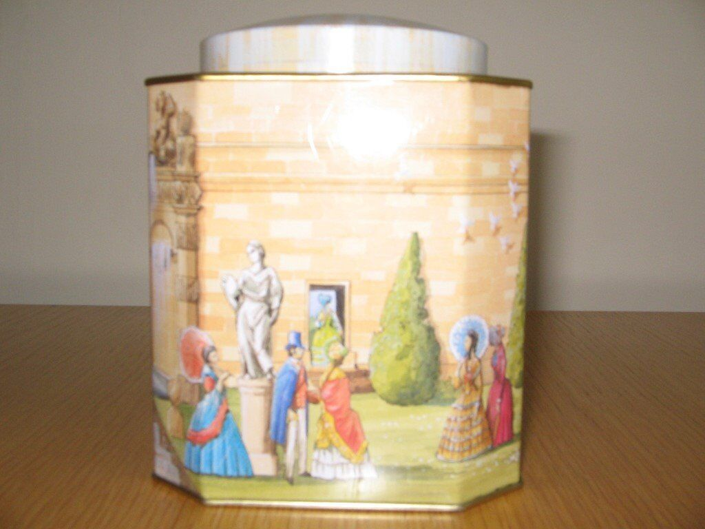 Chatsworth The Cascade House Tea Tinin Cheltenham, GloucestershireGumtree - Empty Chatsworth Tea Tin. The Cascade House. Period Scene Showing Around the Tin. Complete with Lid. Good Condition. Height 13cm. Width 10cm. Depth 10cm